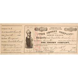 Crosby Company Stock Cert., NV - Virginia City,Storey County
