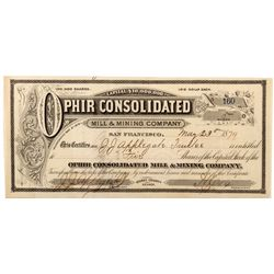 Ophir Consolidated Mill & Mining Co. Certificate, NV - Virginia City,Storey