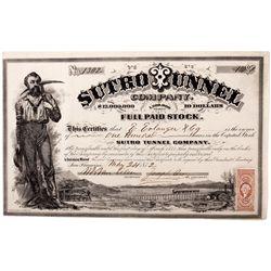 Sutro Tunnel Stock Certificate, NV - Virginia City,Storey