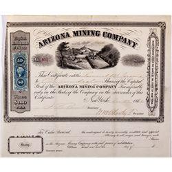 Arizona Mining Co. Certificate, AZ - Tubac,Pima