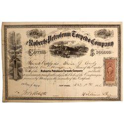 Roberts Petroleum Stock Cert., NY - New York,