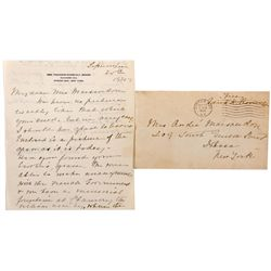 Letter from Mrs.Theodore Roosevelt, NY - Oyster Bay,Nassau County