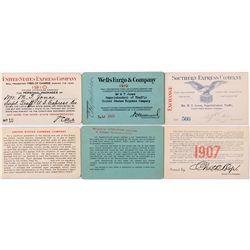 Three Express Company Freight Passes 1907-1910,  - ,