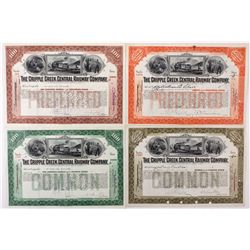 Cripple Creek Central Railway Company Stock Certificate Group, 4 Colors Issued 1925-1930, CO - Cripp