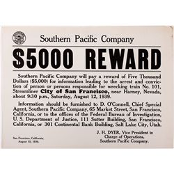 Southern Pacific Wanted Poster, NV - Harney,Eureka County