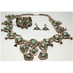 Squash Blossom Necklace Set, Green Stones, AZ - ,