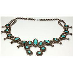 Squash Blossom Necklace with Turquoise, AZ - ,