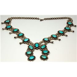 Squash Blossom Necklace with Turquoise Stones, AZ - ,