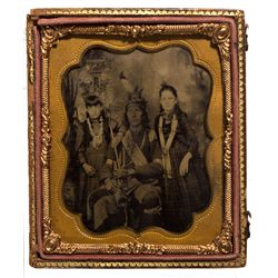 Native American Man with Children Ferrotype in an Ambrotype Frame, SD - ,