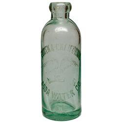 Green Aqua Blob Top Hutch Soda Bottle, CA - San Francisco,