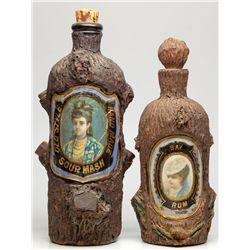 Two Label Under Glass Bark Liquor Bottles,  - ,