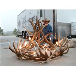 "Elongated elk chandelier 36""W x 72""L"