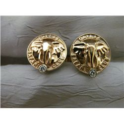 14k yellow gold cufflinks with diamonds