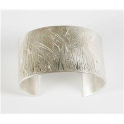 Sterling silver and diamond cuff with hand- engraved meadow grass and diamond fireflies