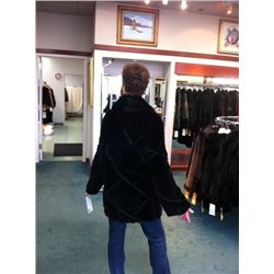 Designer diagonal corded sheared beaver jacket
