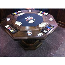 Solid walnut poker table (octagonal shape)