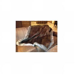Beaver blanket with bobcat trim, 50 W x 60 L
