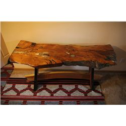"""African Desert"" - Alligator Juniper sofa table inlaid with turquoise, marble and coral"