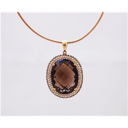 18k rose gold Madeira smoky quartz pendant