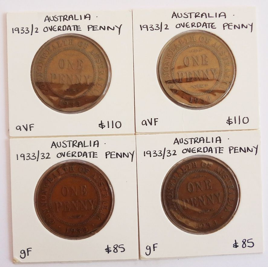 1944 - Australia 1933/2 Overdate Penny Lot of 4 Coins