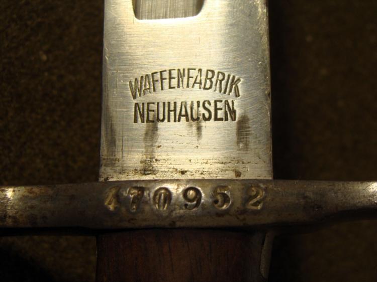 waffenfabrik neuhausen bayonet serial number