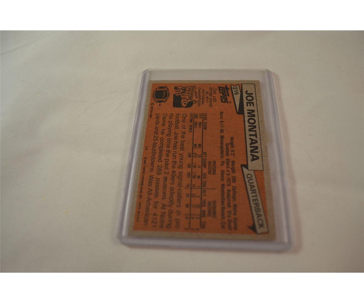 Joe Montana Rookie Card Topps 1981