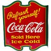 "Image 1 : Coca Cola ""Refresh Yourself!"" Double-Sided Porcelain Fl"