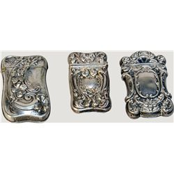 Lot Of 3 Fancy Embossed Silver Victorian Match Safes c1