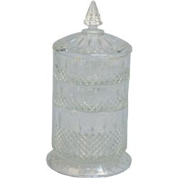 Fancy Glass 3 Stackable Section Candy Jar w/ Lid