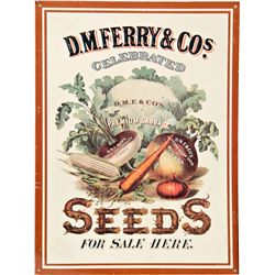 D.M. Ferry & Co. Celebrated Seeds Embossed Tin Sign