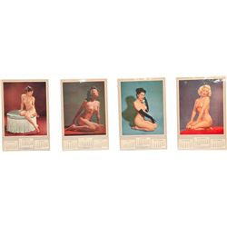Lot Of 4 - 1954 Complete Nude Pin-Up Girlie Calendar: