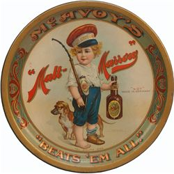 McAvoy's Malt-Marrow Round Tin Advertisement Serving Tr