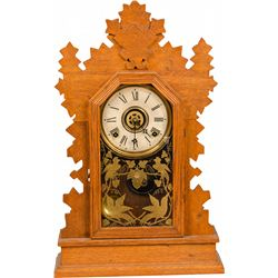 Early Wooden Gilbert Gingerbread Clock w/ Gold Bird Det