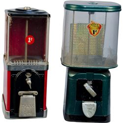 Lot of 2 One Cent Gumball Vending Machines