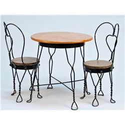 Mini Wood & Twisted Cast-Iron Ice Cream Parlor Table