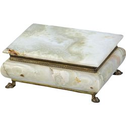 Green Marble Jewelry Box w/ Brass Claw Feet