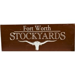 """Fort Worth STOCKYARDS"" Tin Sign"