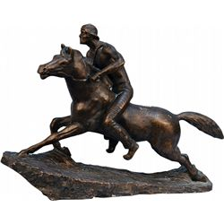 Bronze Finish Figural Indian Man on Horse Sculpture Sta