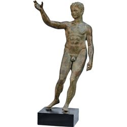 Bronze Finish Figural Statue Of Nude Man On Wood Base