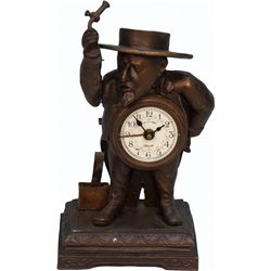 Early Countertop Brass Depose Figural French Man Alarm