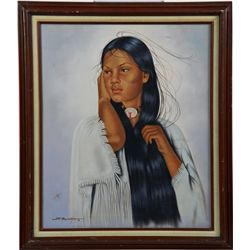 Portrait of a Young Native American Woman Oil Painting