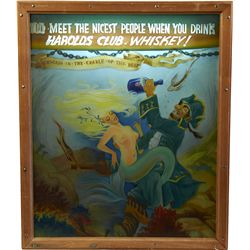 Harold's Club Whiskey Reverse Painting On Glass Light