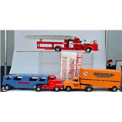 Lot of 3 Vintage Pressed Steel Toy Trucks: