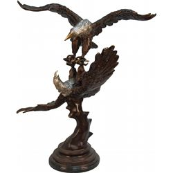 Large Bronze Figural 2 Eagles Fighting Statue