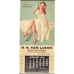January 1951 Earl Moran Pin-Up Advertising Calendar