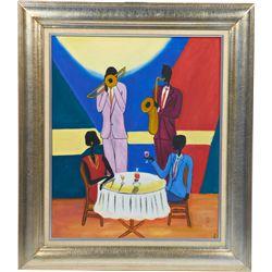Modern Art Jazz Scene Painting On Canvas In Frame