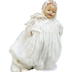 Early Child's Baby Doll w/ Closing Eyes On White Metal
