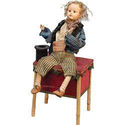 Early Wind-Up Figural Magician Automaton Music Box