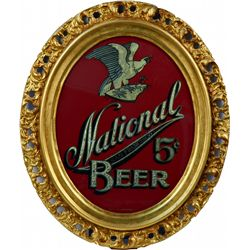 National Beer Oval Glass & Gold Flake Mirrored Sign