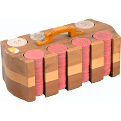 """Wooden Roulette Gaming Chip Caddy w/ Red And White """"Rou"""